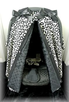 car seat canopy, car seat cover, cheetah, black, polka dot, chevron, girly, bows, baby car seat, infant girl, baby girl, baby, zebra
