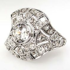 Art Deco Diamond Cluster Ring Openwork Platinum 1920's Stunning