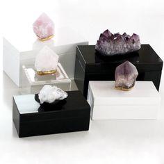 amethyst box / quartz box / quartz point box / crystal boxes $96.00