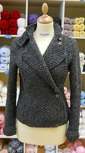 This is a very versatile jacket, as it can be worn many ways. It looks great over either jeans or a dress. All the shaping for the waist is done at the cable lines.