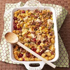 TLC (Thanksgiving Leftover Casserole) Recipe -Turkey, stuffing and veggies come together into a fabulous day-after casserole. Top it off with chopped pecans. There's comfort in every bite.—Barbara Lento, Houston, Pennsylvania