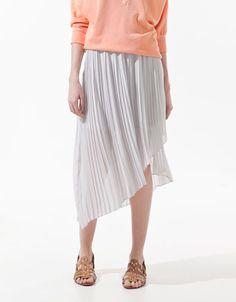 ASYMMETRIC FINE PLEATED SKIRT - Skirts - Woman - ZARA Poland