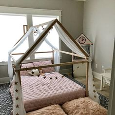 Toddler bed Play house bed frame Children bed Bunk bed Home bed Wood house Floor bed Teepee bed Wooden bed Wood house Montessori bed Gift Toddler Bed Frame, Kids Bed Frames, Toddler Floor Bed, Toddler House Bed, Baby Room Design, Baby Room Decor, Bedroom Decor, House Frame Bed, Diy Bed Frame