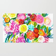 Bright Colorful Floral painting on White Background. Pretty floral bouquets in pretty shades of pink, purple, yellow, orange, red, and blue.