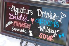 Bride and groom Signature drinks-wedding cocktail hour