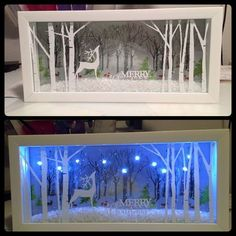 Shadow box is a box where you keep many memories there. To decorate it we have many variant shadow box ideas that could make it more interesting. Noel Christmas, All Things Christmas, Winter Christmas, Christmas Ornaments, Christmas Projects, Holiday Crafts, Holiday Fun, Christmas Ideas, Christmas Shadow Boxes