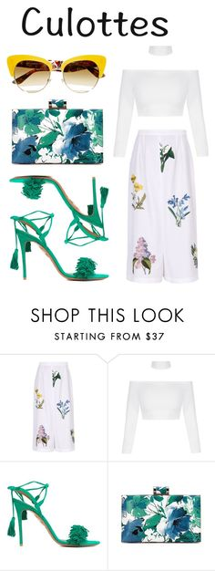 """tricky trend: culottes"" by missgirlgiuli ❤ liked on Polyvore featuring STELLA McCARTNEY, Aquazzura, Dolce&Gabbana, white, Flowers, culottes and yoins"