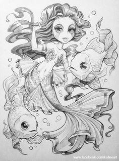 Goldfish Mermaid by KelleeArt.deviantart.com on @deviantART