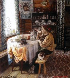 'Tea drinking' by contemporary Russian painter Svetlana Berdnik