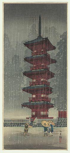 Five-storied Pagoda, Nikko by Shotei (1871 - 1945)