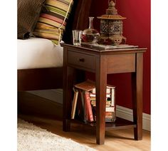 """Valencia bedside table from Pottery Barn.  Dimensions:  21.5"""" x 17"""" x 27.5""""H"""