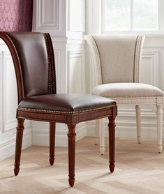 Based on our best-selling barstools, the Chapman Dining Chair is the epitome of elegant seating with stately detailing, hand-placed metal nailhead trim, beautifully fluted legs and a brass-plated footrest. It has a sturdy, solid-hardwood frame and apron.