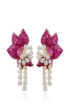 Ruby floral earring by FARAH KHAN