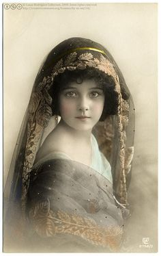 Beautiful Edwardian Girl (1911) Vintage hand colored real photo postcard, circulated in 1911, divided back, published by Gustave Liersch & Co. (GLCo), Berlin, Germany.