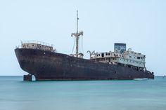 A cargo ship wreck in the industrial area of Arrecife on Lanzarote, Spain