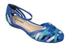 #Sandália de tiras azul