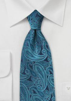 Krawatte Paisleymuster blaugrün