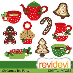 Clipart Christmas Tea Party 08114.. red green by revidevi on Etsy