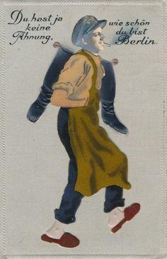 Präge Material Ansichtskarte / Postkarte Berlin, Du hast ja keine Ahnung wie schön du bist, Schuster mit Stiefeln