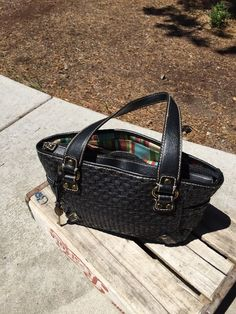 RARE Fossil Modern Vintage Black Woven Straw Shoulder Handbag Purse   eBay