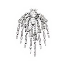 PLATINUM AND DIAMOND CLASP, MOUNTED BY CARTIER, Designed to support five strands, the clasp centered by two round diamonds weighing 6.14 and 6.09 carats, suspending fringes of floral design, set with numerous round, old European and single-cut diamonds weighing approximately 15.00 carats, signed Monture Cartier, numbered M9216; circa 1910.
