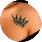Small Crown Tattoo Design: Left Front Shoulder