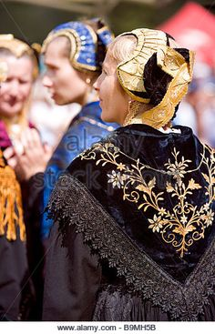 France, Savoie, Peisey Nancroix, Costume and Mountain festival, costumed woman - Stock Photo
