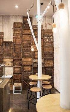 Raw Dessert Bar Featuring Man-Made Trees And A Wall Of Rustic Produce Crates Melbourne / Australia /
