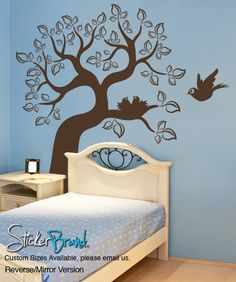 Vinyl Wall Decal Sticker Bird and Tree #OS_ES102 | Stickerbrand wall art decals, wall graphics and wall murals.