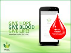 Now tap on mobile to donate and seek blood. 1st ever digital way to donate. Download & save life. http://bit.ly/iWantApp ‪#‎BloodDonation‬