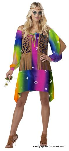 Celebrate flower power as a member of the grooviest generation! This adult Hippie Chick costume comes with colorful dress, attached pattern cut fringed vest, and braided headband.
