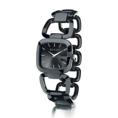 G-Gucci Collection, Black PVD Stainless Steel Link Watch with Black Mother of Pearl Dial and Stainless Steel Bracelet