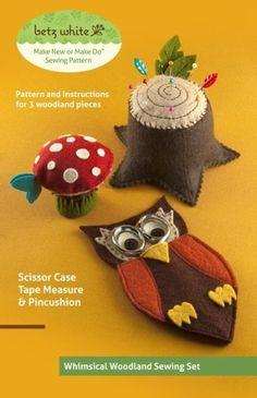 Betz White - Whimsical Woodland Sewing Set-betz white productions, whimsical woodland sewing set, sewing accessories, pin cushion pattern, pin cushion, woodland creatures, owl, mushroom, sewing, scissors, tree, designer sewing pattern