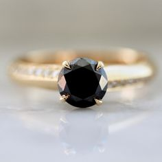 Round Cut Black Diamond Ring by Nick Engel - Gem Breakfast