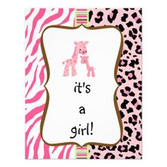 pink animal print baby shower invitation