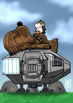 Chewbacca and a porg on the Falcon, drawn as Snoopy and Woodstock Lego Star Wars, Star Wars Witze, Star Wars Jokes, Star Wars Film, Star Wars Cartoon, Disney Star Wars, Chewbacca, Snoopy Love, Snoopy And Woodstock