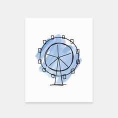 London's iconic London Eye art print painted in watercolor and vector outline.