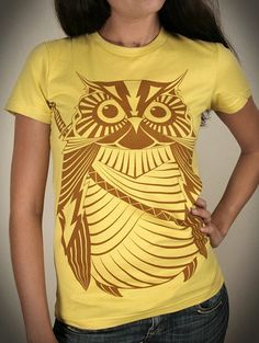 Samurai Owl - Organic Cotton Womens t shirt printed with ECO ink by ironspider on Etsy.