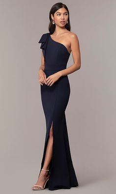 Shop long formal prom dresses with one-shoulder bodices at Simply Dresses. Navy blue long dresses, cheap prom dresses, and dark blue evening gowns with shoulder ruffles and side slits. Prom Dresses Blue, Event Dresses, Cheap Prom Dresses, Long Bridesmaid Dresses, Ball Dresses, Cheap Dress, Long Dresses, Dress Prom, Bleu Violet