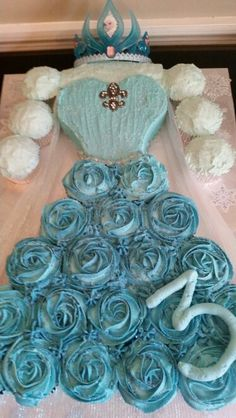 Frozen Elsa dress cupcake cake