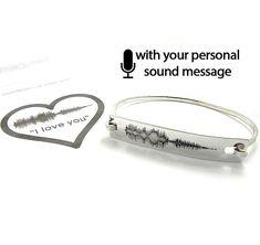 Personal soundwave bracelet, waveform bracelet, custom sound wave bangle,waveform jewelry, engraved sound wave - Ship by DHL EXPRESS
