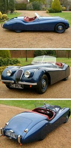 Jaguar XK 120 as one should be: disc wheels & skirts.