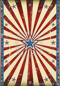 Fourth of July | printable | cool art | star with stripes | movie poster | circus | red white blue