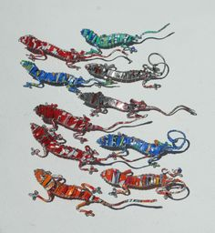 GECKOS Crafted from Recycled SODA Cans and Wire - Made in Africa - Unusual creatures - Set of 10. $31.99, via Etsy.