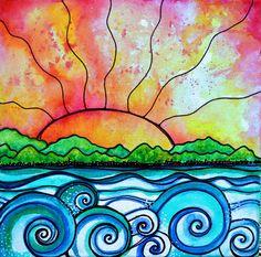 Summer beach sunset print art waves ocean sun by RobinMeadDesigns