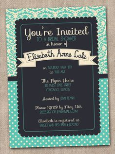 Printable Bridal Shower Invitations Aqua and Navy Blue Damask Digital Design