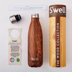 Featured on Urban Outfitter. Perfect water bottle for rustic living, camping, outdoors, roadtrips. S'well Bottle Teakwood 17oz medium Water Bottle wood collection