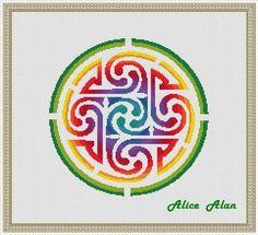 Cross Stitch Pattern Celtic knot ornament rainbow circle