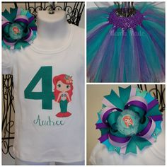 Ariel Little Mermaid Princess 6th Sixth Girl Birthday Tutu Shirt Outfit Set sq