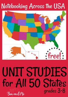 Unit Studies for all 50 States! Study U. Geography for an entire year with these FREE Unit Studies for all 50 States! Us Geography, Teaching Geography, 5th Grade Geography, Geography Worksheets, Math Worksheets, Teaching Kids, Gifted Education, History Education, Teaching History